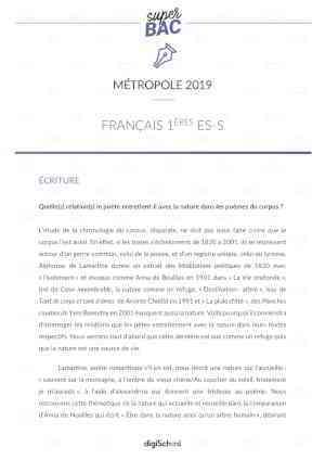 Bac ES 2019 | Français : Correction de l'épreuve anticipée