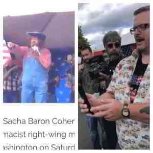 Not only did Sacha Baron Cohen troll the crowd at a right-wing event in Olympia, Washington (and get chased off stage), but he then snuck back in moments later as a reporter and filmed interviews