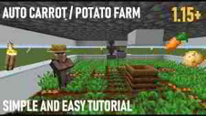Minecraft 1.15 Auto Carrot and Potato Farm Tutorial Simple and Easy