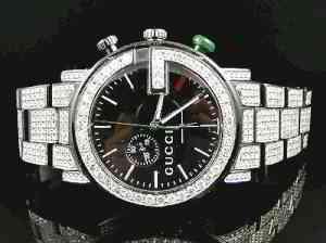 Mens Gucci YA101331 Black PVD 44MM Iced Diamond Watch 12 Ct | eBay