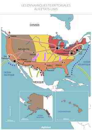 Croquis : Dynamiques territoriales aux États-Unis - Carte Géographie Bac S