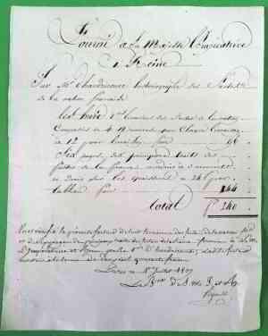 1807 - Facture de Ternisien d' HAUDRICOURT à l' Impératrice JOSÉPHINE • EUR 5,00