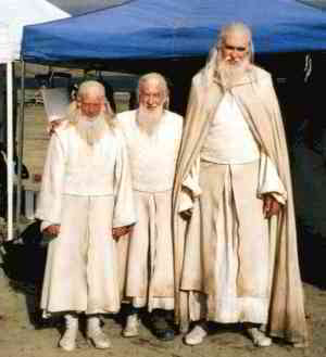 The actor for Gandalf with his stunt double and scale double
