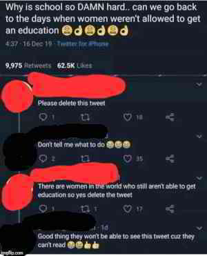 She'd rather women lose rights than have to finish school
