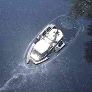 Broken car antenna looks like a half-sunken boat