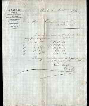 """PARIS (IV°) DISTILLERIE & BASSERIE / ALCOOLS & LIMONADES """"A. RANDON"""" en 1870 • EUR 45,05"""