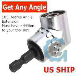 "105°Angle 1/4"" Extension Hex Drill Bit Screwdriver Socket Holder Adaptor New 665985428142 
