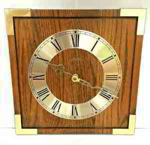 Vintage MCM Linden Wall Clock Oak Wood Square | eBay