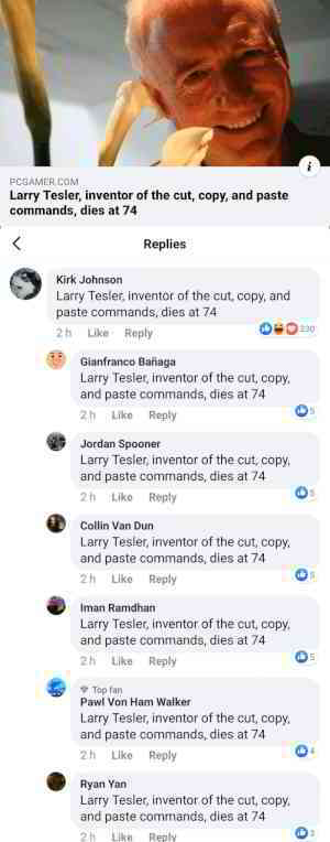 Larry Tesler, inventor of the cut, copy, and paste commands, dies at 74