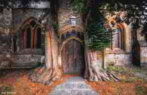 This 13th Century church entrance in the Cotswolds, England