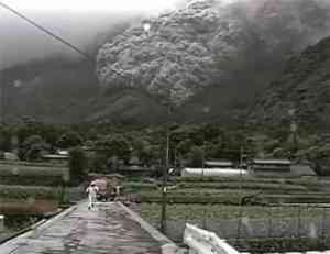 Pyroclastic Flow from the Eruption of Mt Unzen, Japan in June, 1991.