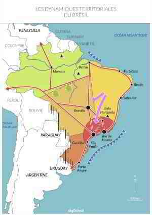Croquis : Dynamiques territoriales au Brésil - Carte Géographie Bac S